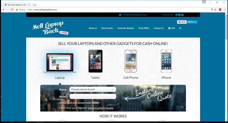 selllaptopback.com homepage